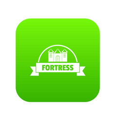 Emblem fortress icon green vector