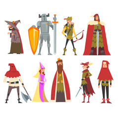 European medieval characters set old witch vector