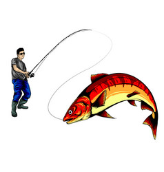 fisherman caught a fish silhouette vector image