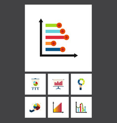 flat icon graph set of chart infographic pie bar vector image