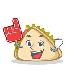 Foam finger sandwich character cartoon style vector
