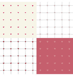 Four seamless pattern with hand drawing hearts vector