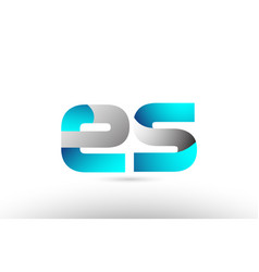 Grey blue alphabet letter es e s logo 3d design vector