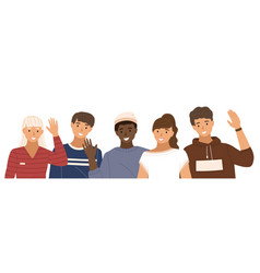 group people is waving hands male characters vector image