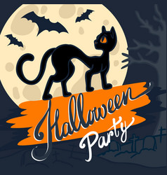 halloween black cat concept background hand drawn vector image