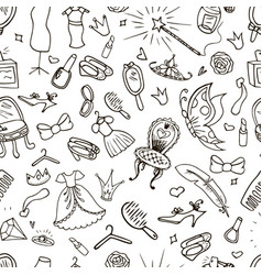 hand drawn princess seamless pattern vector image