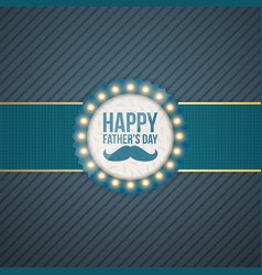 happy fathers day circle label with blue ribbon vector image