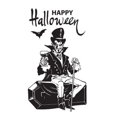 happy halloween lettering count dracula sitting vector image