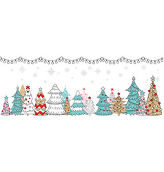 horizontal winter banner christmas tree branch vector image