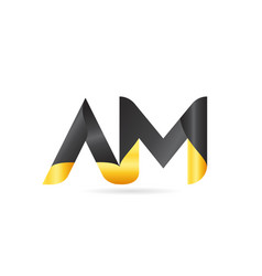Joined or connected am a m yellow black alphabet vector