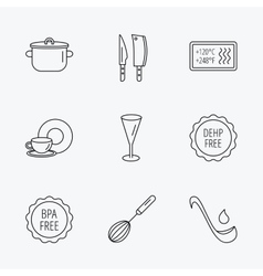 Kitchen knives glass and pan icons vector