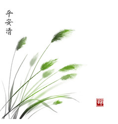 Leaves grass hand drawn with ink traditional vector