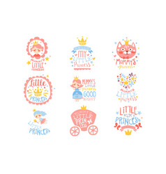 Little princess set of prints for infant girls vector