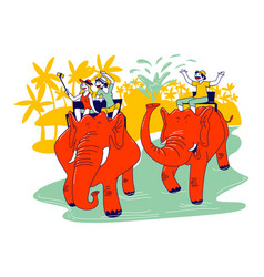 male and female characters riding on elephants vector image
