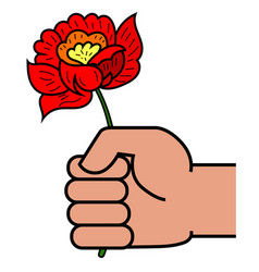 man holding in hand red flower vector image