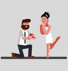 man makes an offer to a girl to get married vector image