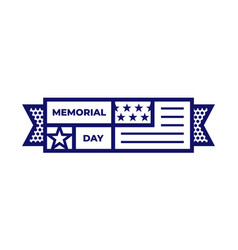 memorial day pictograph or icon with national flag vector image