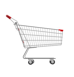 metal wire small shopping cart for mall vector image
