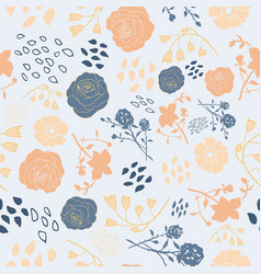Mixed summer florals in blue and peach vector