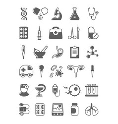 Modern medicine black and white glyph icons set vector