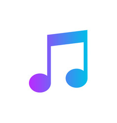 music note icon in flat style sound media on vector image