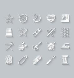Needlework simple paper cut icons set vector