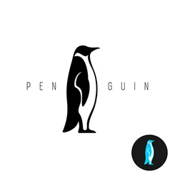 penguin black silhouette logo side view vector image