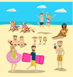 people and couples on vacation beach big set vector image
