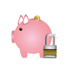 Pig save coins money with padlock vector