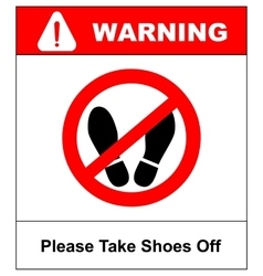 Please take shoes off Do not step here please vector