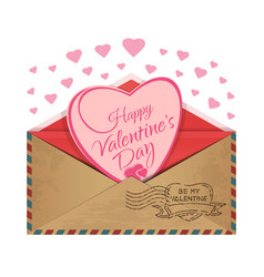 Postal envelope with a heart inside vector