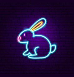 Rabbit neon sign vector