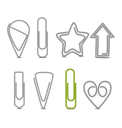 realistic 3d detailed metal paper clips set vector image