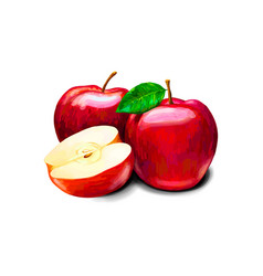 Red apple sweet fruit vector