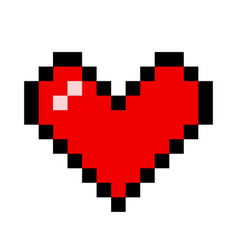red heart pixel love romatic passion icon vector image