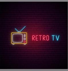 retro tv neon sign tv show emblem in trendy neon vector image