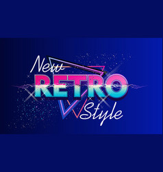 Retro wave cyber space banner vector