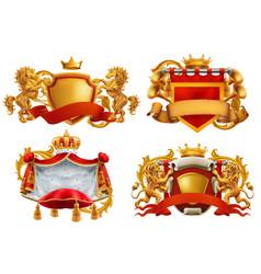 royal coat arms king and kingdom 3d emblem set vector image
