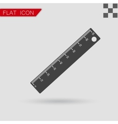 Ruler icon Flat Style with red vector image