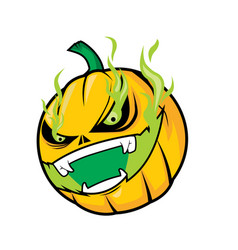 Scary pumpkin head with green flame vector
