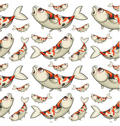 Seamless background with koi fish vector