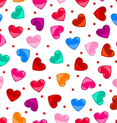 Seamless fun colorful heart shape pattern over vector image