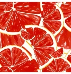 Seamless pattern fresh ripe slice of grapefruit vector image