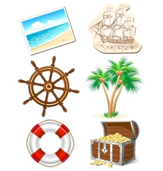 set icons for sea travel vector image