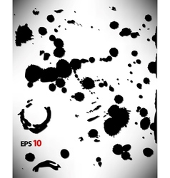Set ink blots in black and white vector