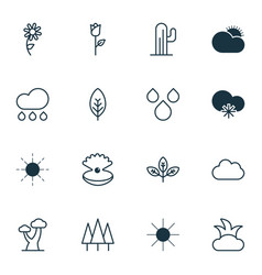 Set of 16 world icons includes rain bush water vector