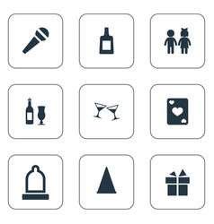 set of simple banquet icons vector image