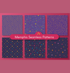 set of trendy neo memphis style seamless pattern vector image