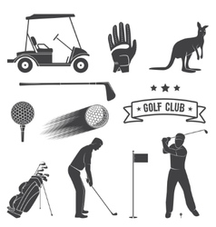 Set of vintage golf elements and equipment vector