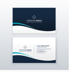 Simple dark wavy business card design vector